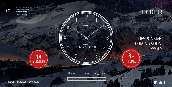TICKER: Responsive Counting Clock Landing Page