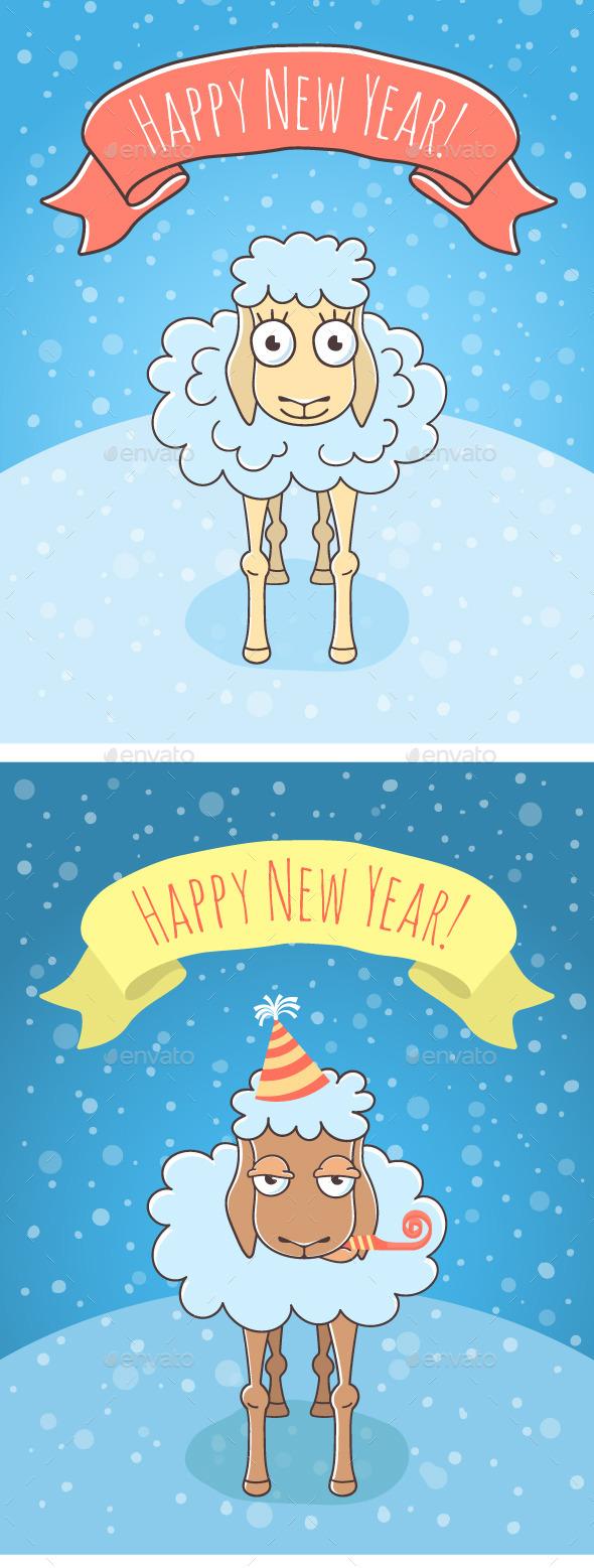 New Year Sheep and Lamb