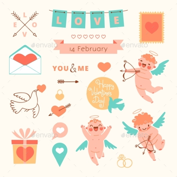 Valentines Day Set of Elements for Design