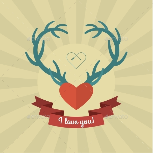 Heart with Blue Deer Antlers