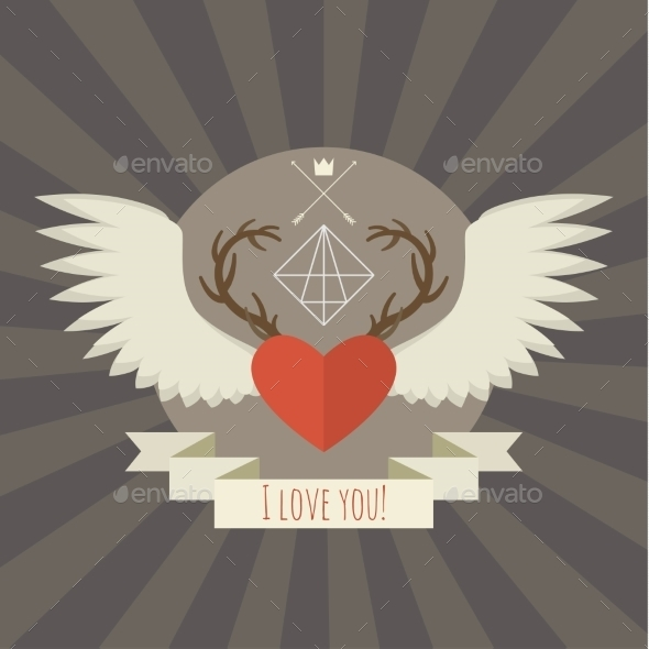 Heart with Deer Antlers and Wings on Gray