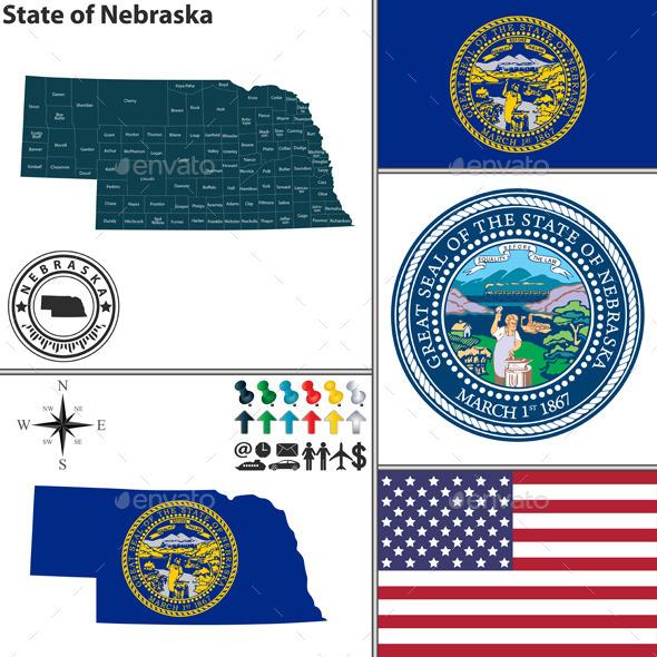 Map of State Nebraska, USA