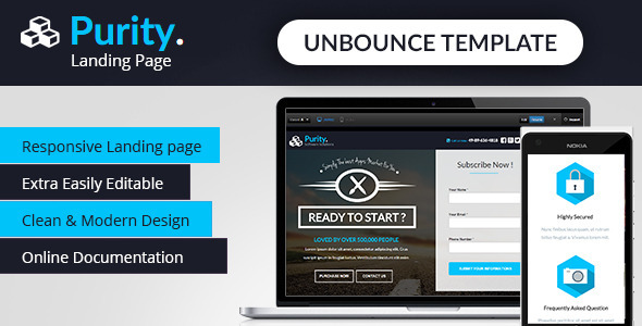 Purity - Unbounce App Landing Page
