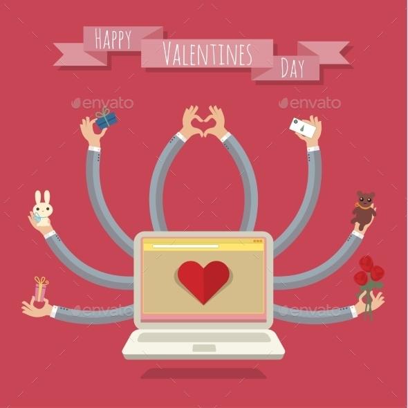 Many Hands Laptop Valentine Card