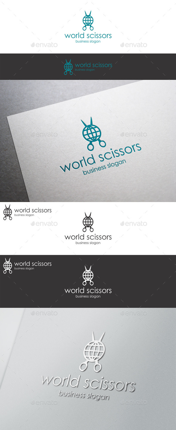 World Scissors - Barber Shop Logo Template