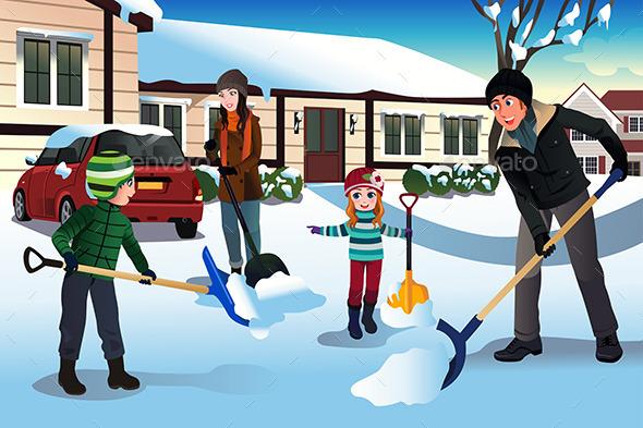 Family Shoveling Snow