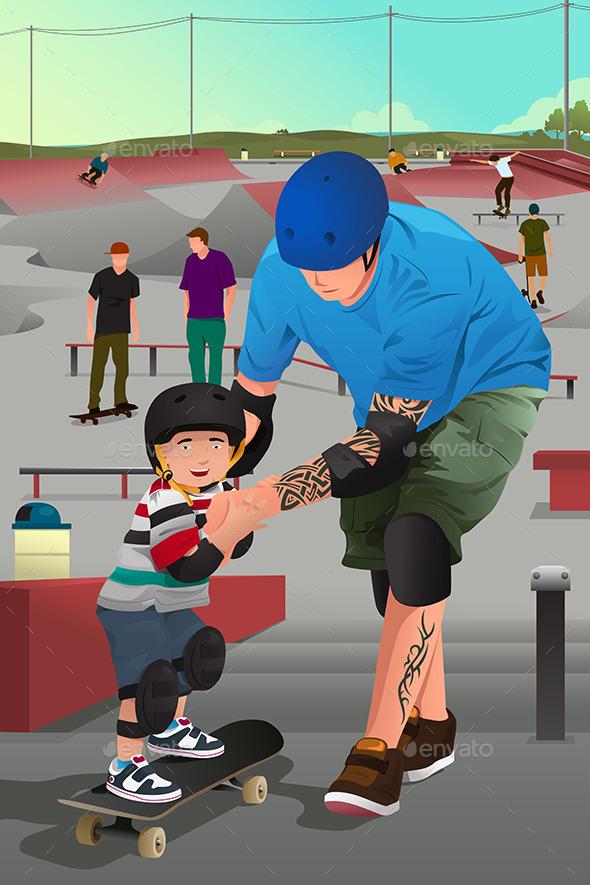 Father Teaching Son Skateboarding