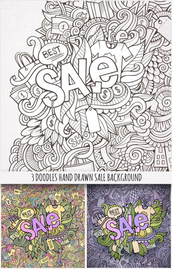 3 Sale Doodles Background