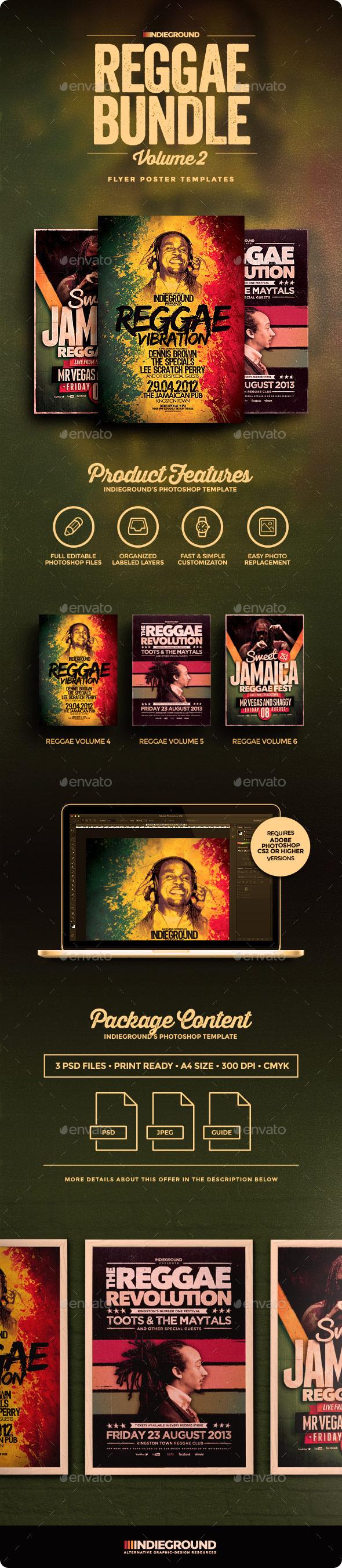 reggae flyer poster vol indieground design