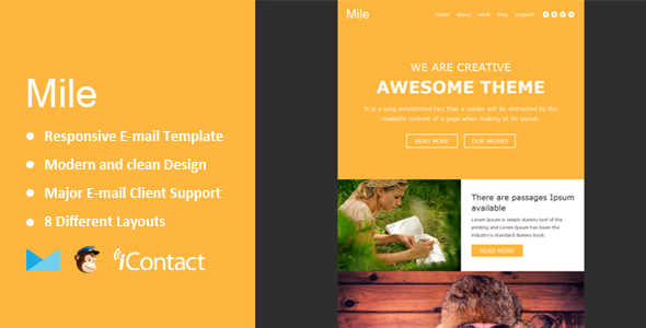 Mile - Responsive E-mail Template + Themebuilder Access