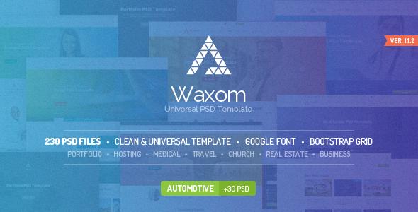 Waxom - czysty i uniwersalny szablon PSD
