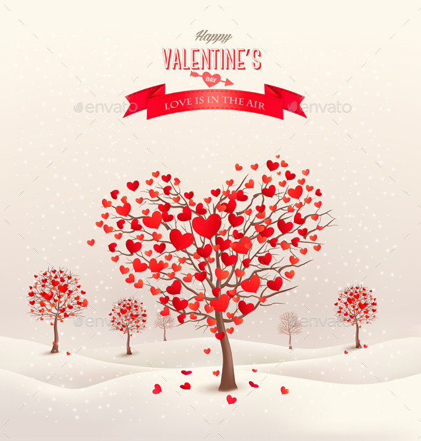 Valentine Background with Heart Shaped Trees