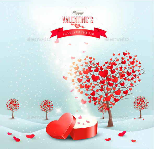 Valentines Day Landscape with Heart Shaped Trees