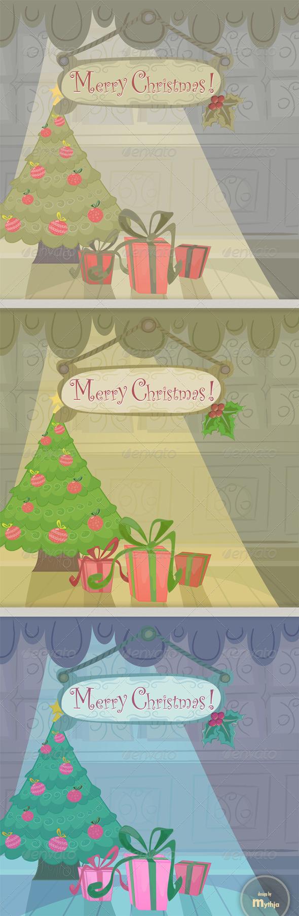 Vector cartoon Christmas cards