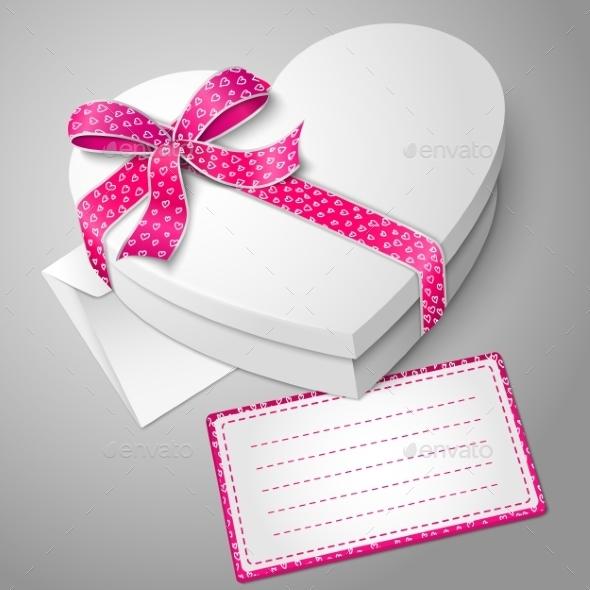 Realistic Blank White Heart Shape Box