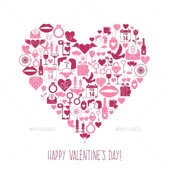 Valentines Day Mosaic Icons Heart Card