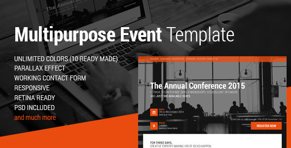 Event & Conference HTML5 Template Landing Page