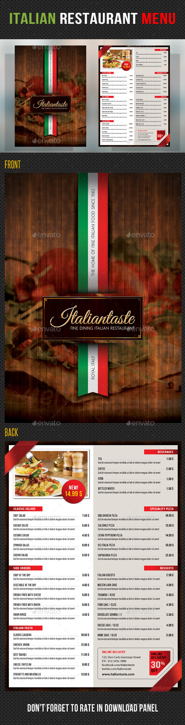 Restaurant Italian Graphics Designs Templates
