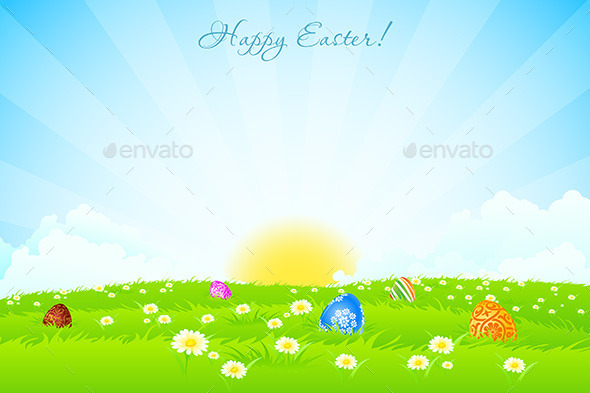 Green Landscape Background with Easter Eggs