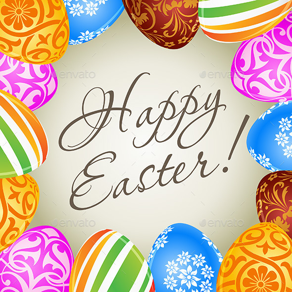 Easter Card with Decorated Eggs