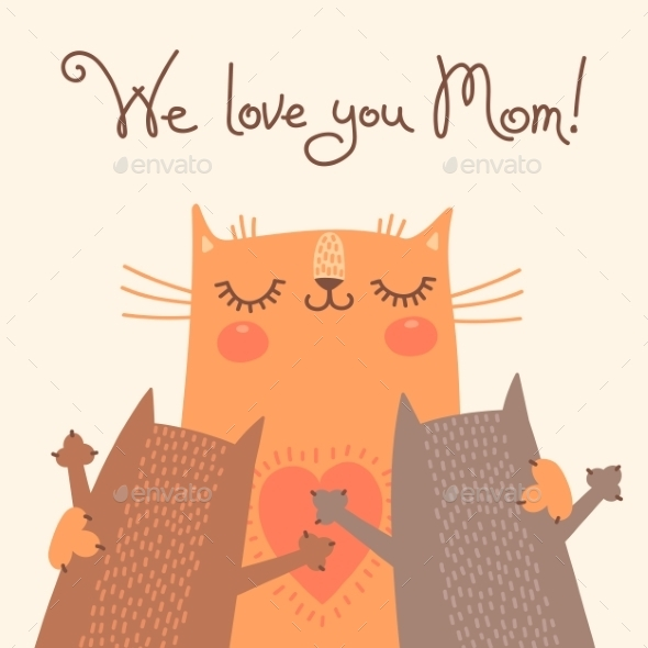 Card for Mothers Day with Cats