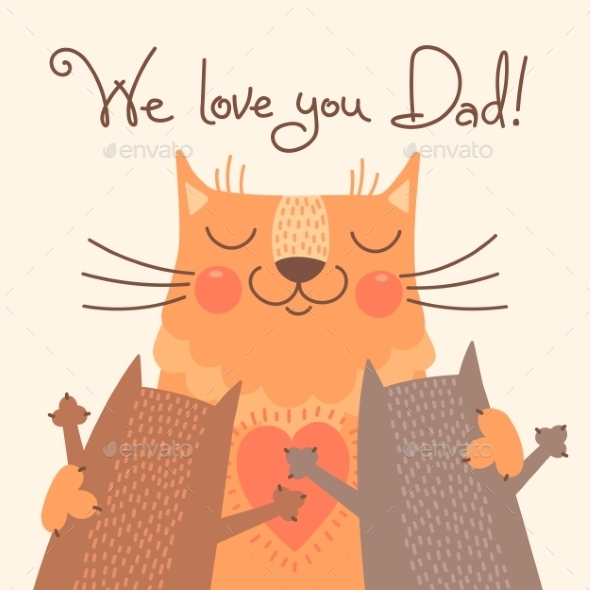 Card for Fathers Day with Cats