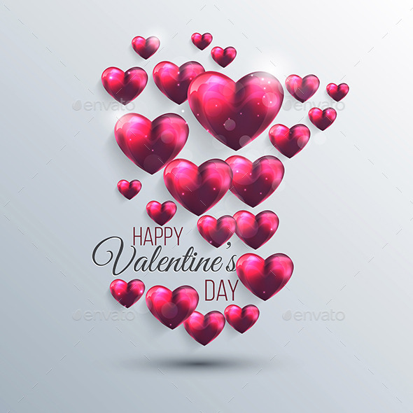 Abstract Background with a Pink Valentine Hearts