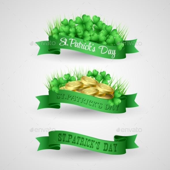 Set of Saint Patrick Day Banners with Clovers