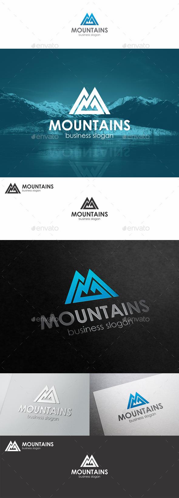 Mountains Logo Monogram M Letter
