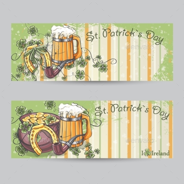 Set of Horizontal Banners for St. Patrick's Day
