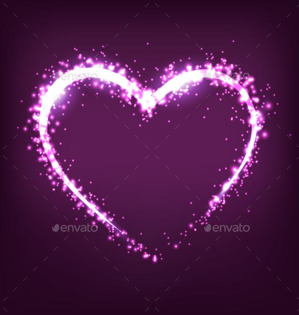 Sparkling Heart on Violet Background