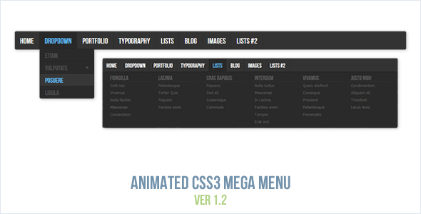 Animated CSS3 Mega Menu