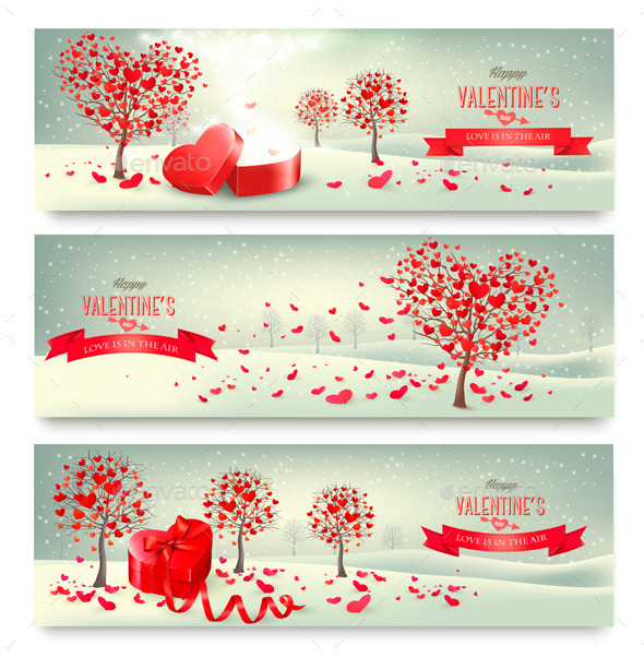 Holiday Retro Banners Valentine Trees with Heart