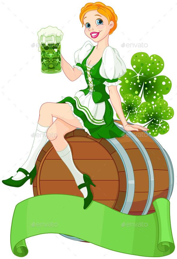St. Patrick Day Girl on a Keg