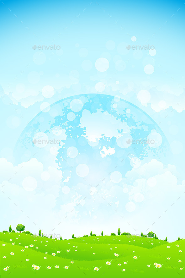 Green Background with Planet in the Sky