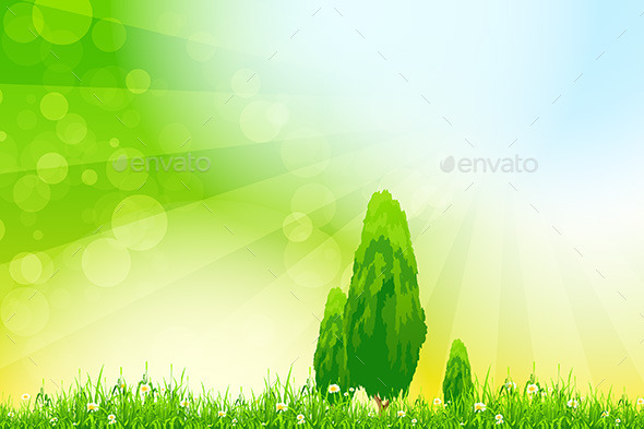 Fresh Green Grass with Yellow Bokeh and Trees