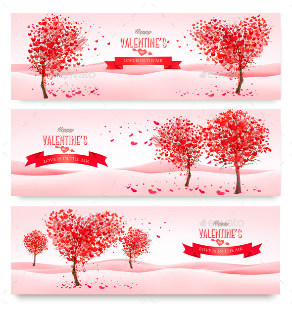 Holiday Retro Banners Valentine Trees with Hearts