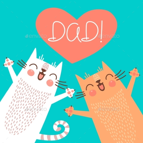 Fathers Day Card with Cats