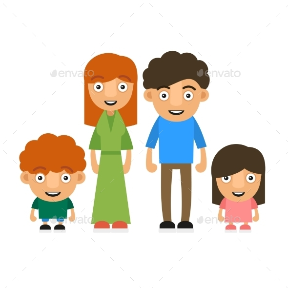 Family Illustration with Two Children