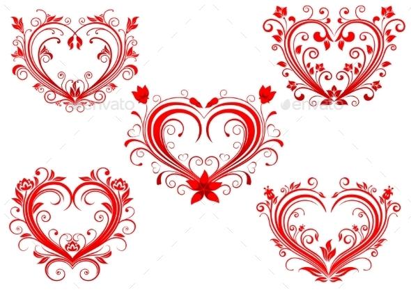 Floral Red Valentine Hearts Set