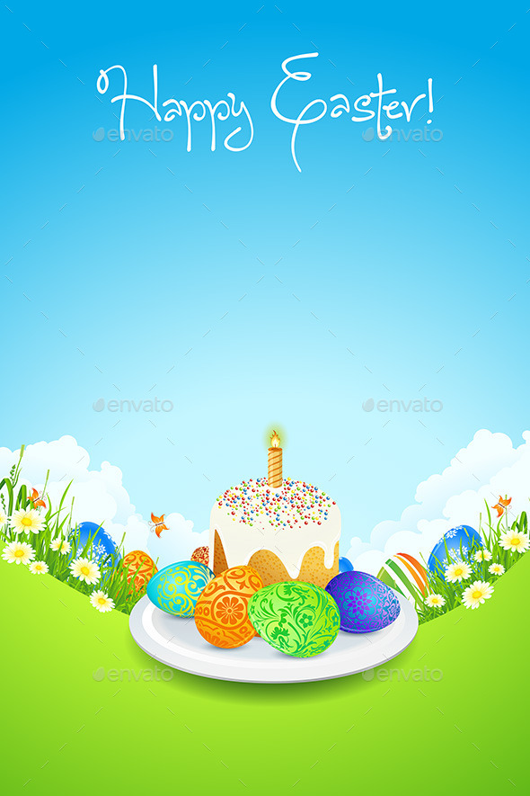 Easter Card with Landscape, Cake and Decorated Egg