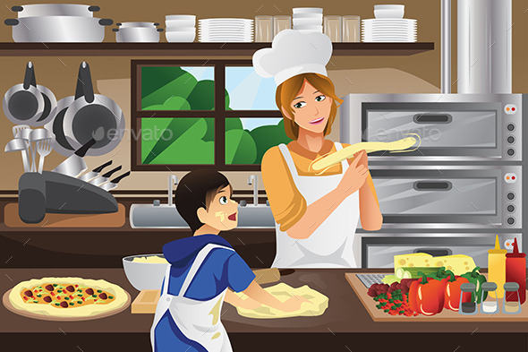 Mother Son in the Kitchen