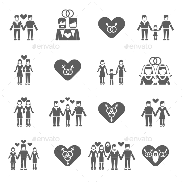 Non-Traditional Family Icons Set