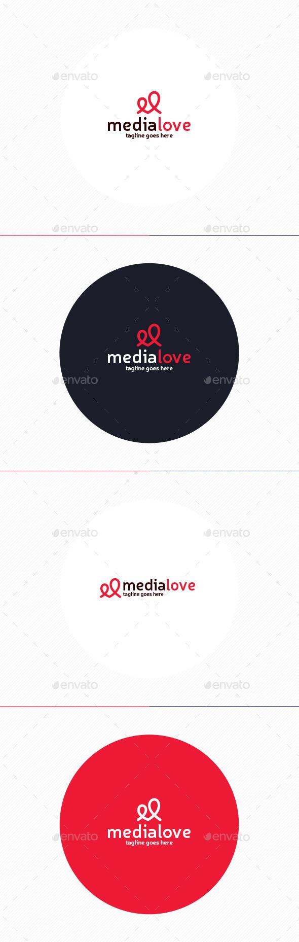 Media Love Logo • Letter M