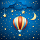 Night Landscape with Hot Air Balloon - GraphicRiver Item for Sale