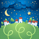 Night Landscape with Village - GraphicRiver Item for Sale