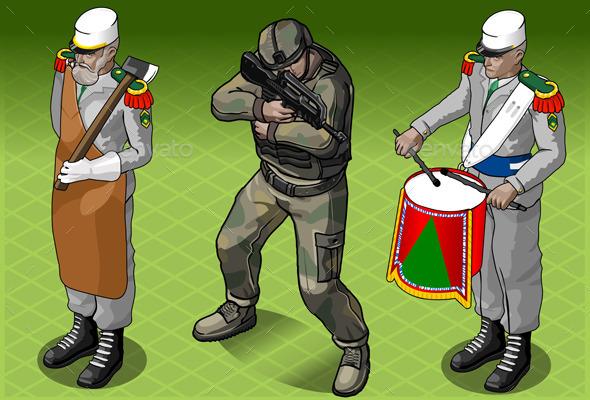 Isometric Foreign Legion Militar People