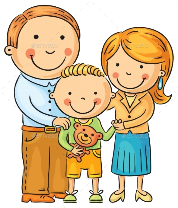 Happy Family with a Little Son
