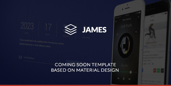 James - Material Design Coming Soon Template