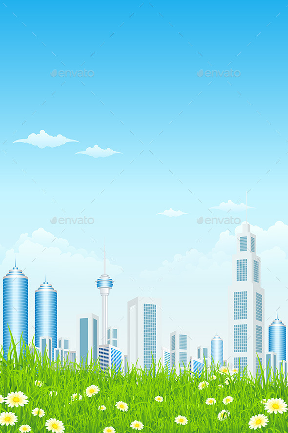 Green Grass with Skyscrapers
